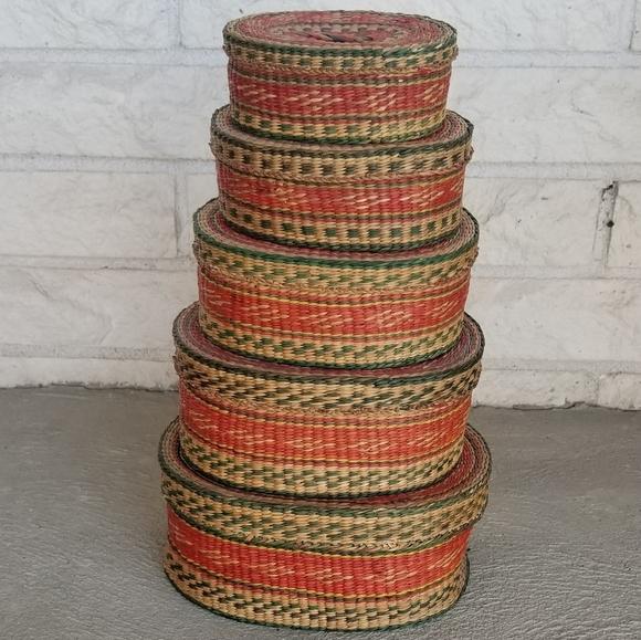 Vintage nesting stacking baskets
